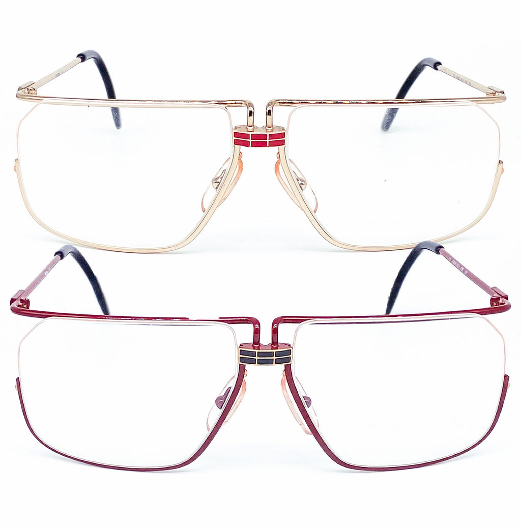 Ferrari F18 square vintage frames, modernist half rimmed style coming in Red or Gold - viceversashop