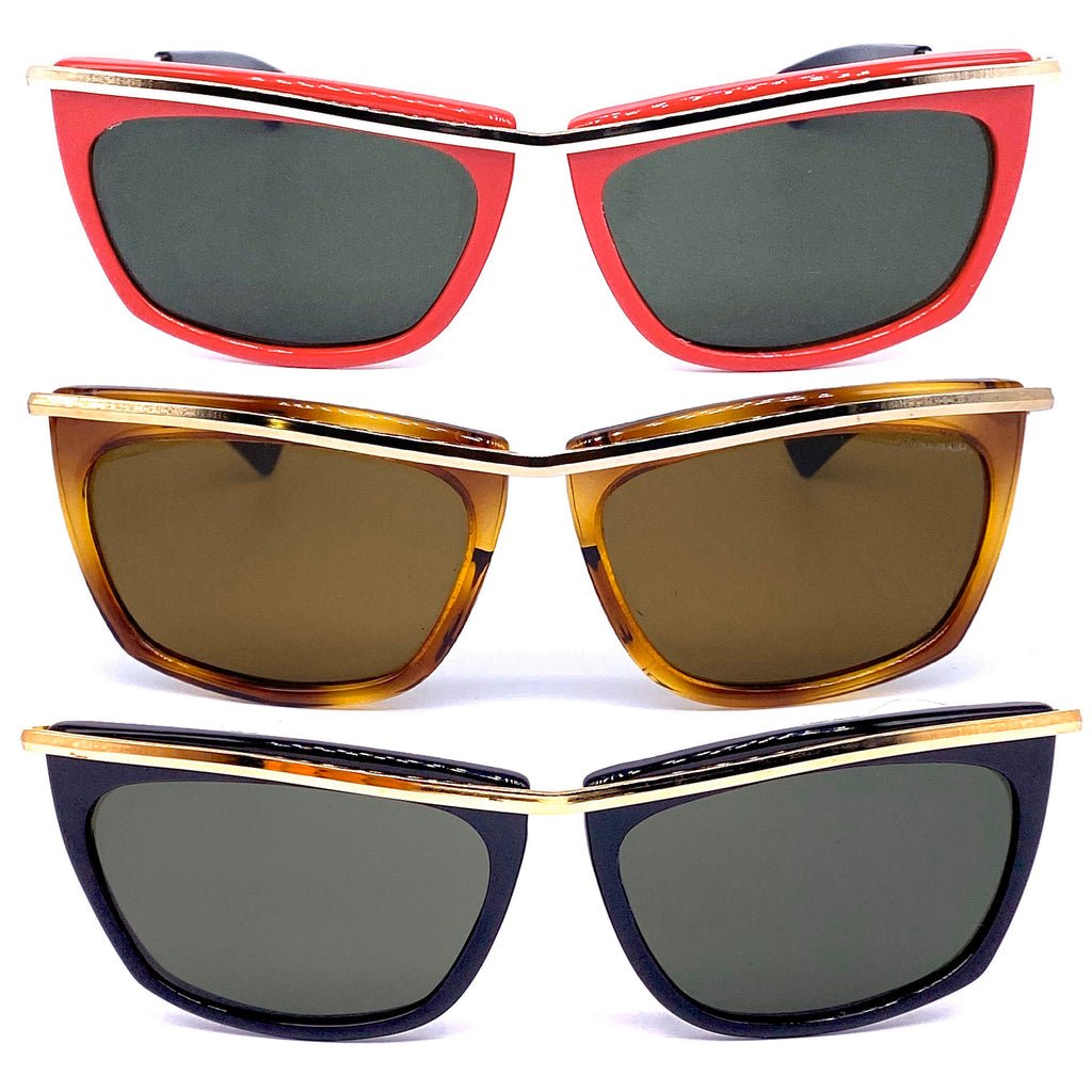 Olympian sunglasses made in Italy available in black, red or tortoise colors, crystal lens - viceversashop