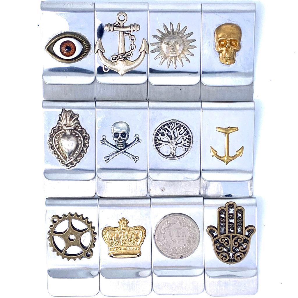 Cool Money Clips, stainless steel with a variety of stamping and applications, ex-voto and Sun are silver - viceversashop