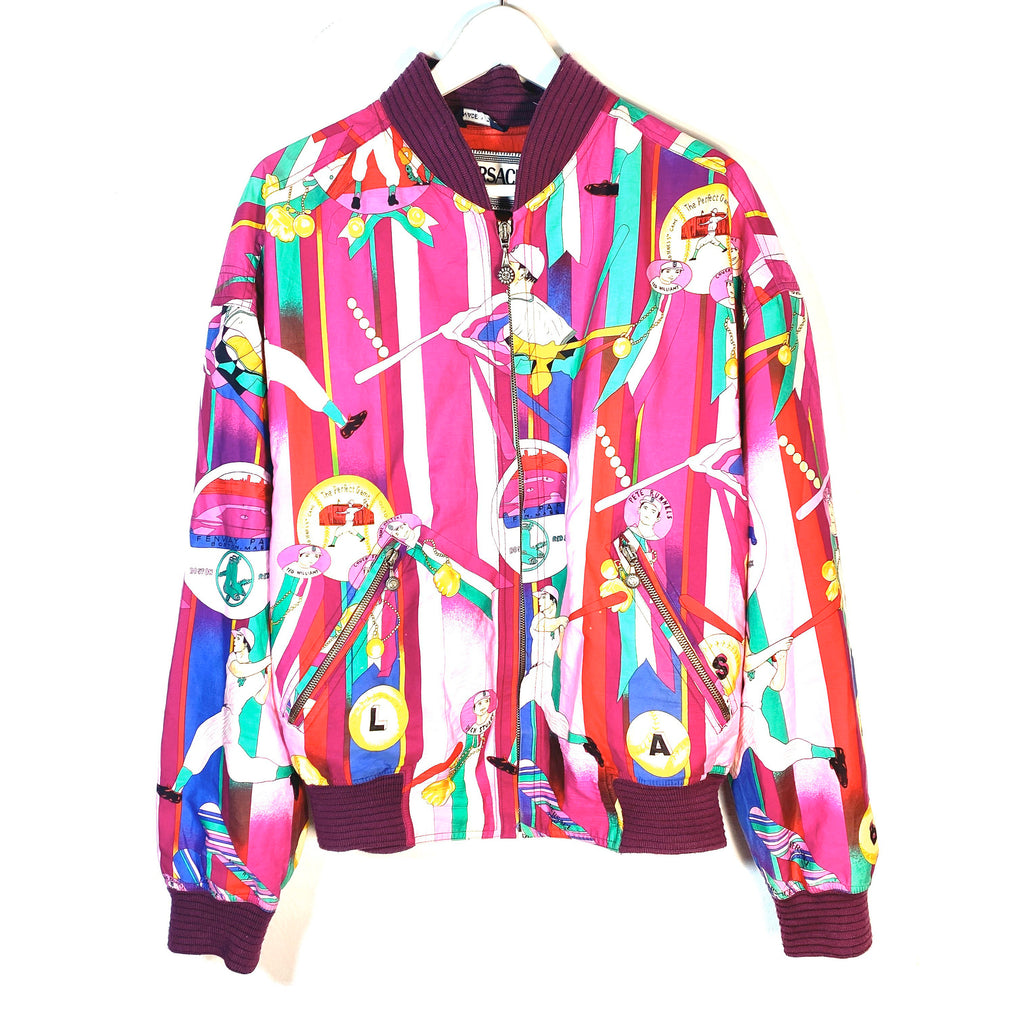 Versace Sport 1990s baseball allover cotton jacket, stunning colorful print of purple tones, minty