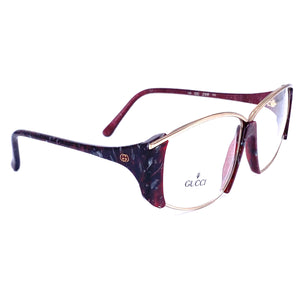 Gucci 2308 speckled burgundy gold oversized ladies eyeglasses frames made in Italy, 1980s NoS - viceversashop