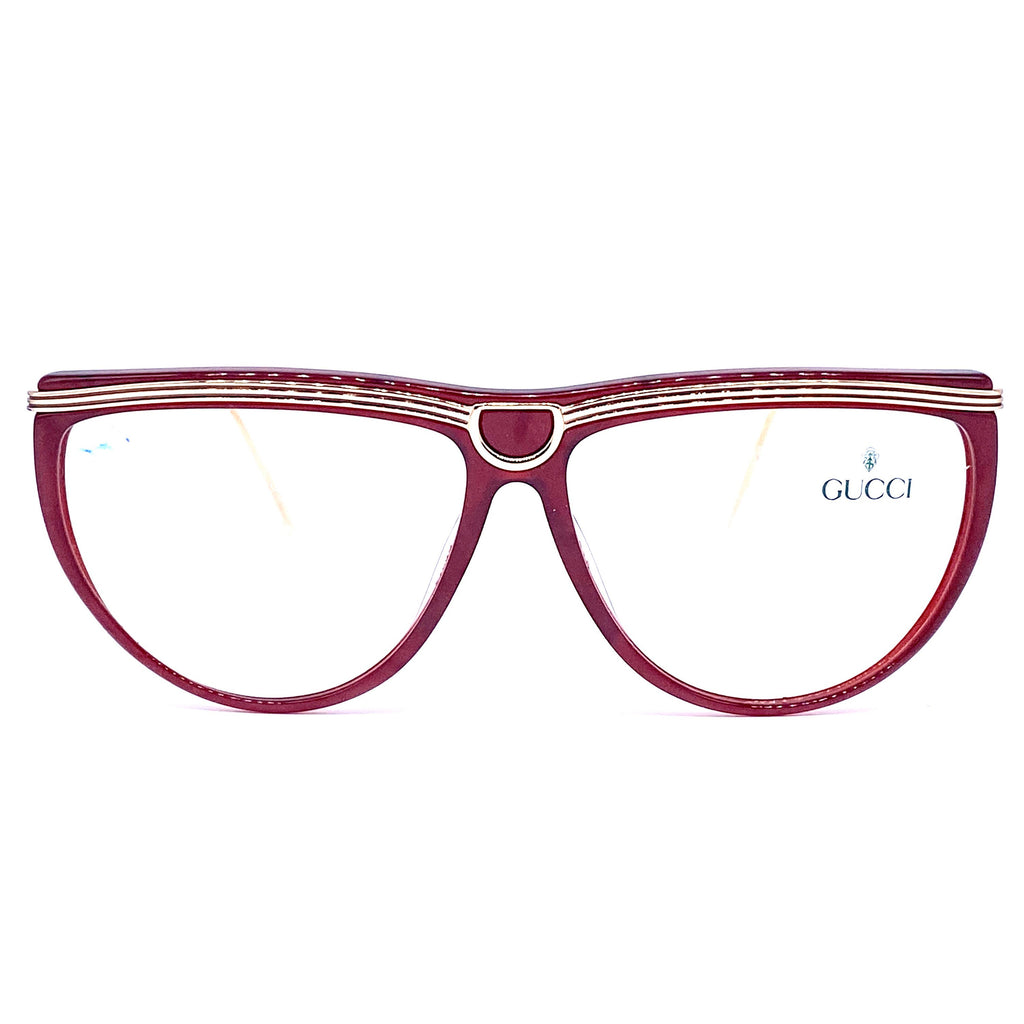 Gucci 2303 burgundy & carved gold ladies eyeglasses frames made in Italy, 1980s NoS - viceversashop