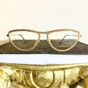 Tiffany Soloist Cateye eyeglasses Frames, 23k Gold Plated, 1980s New Old Stock - viceversashop