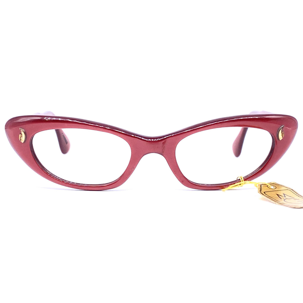 Interoptica 1950s NOS cateye eyeglasses frames, burgundy with gold pins, mint condition new with tags. - viceversashop