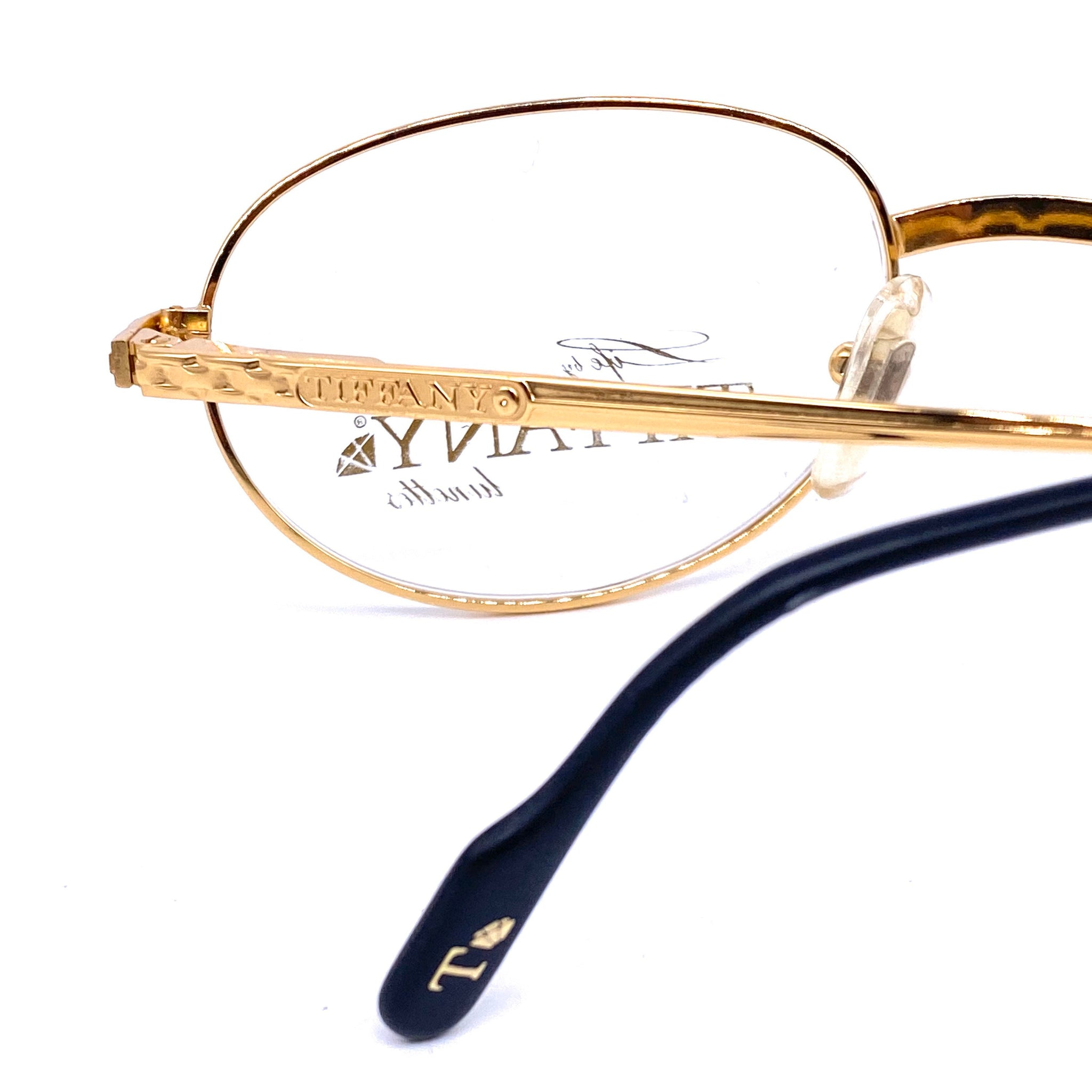 Tiffany 124  oval gold filled eyeglasses frames made in Italy, 1980s NOS - viceversashop