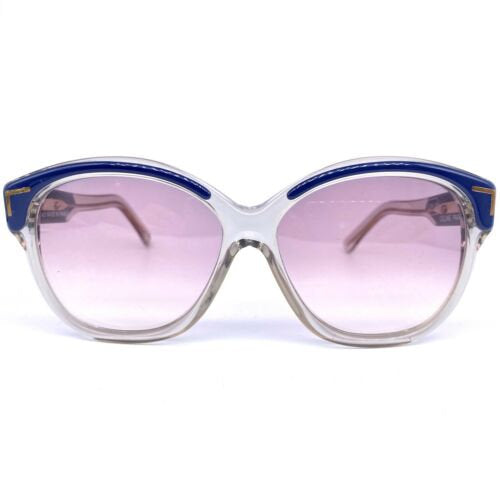 Celine C91 Vintage Sunglasses, Oversized Clear Blue With Gold Accents NOS 80s - viceversashop