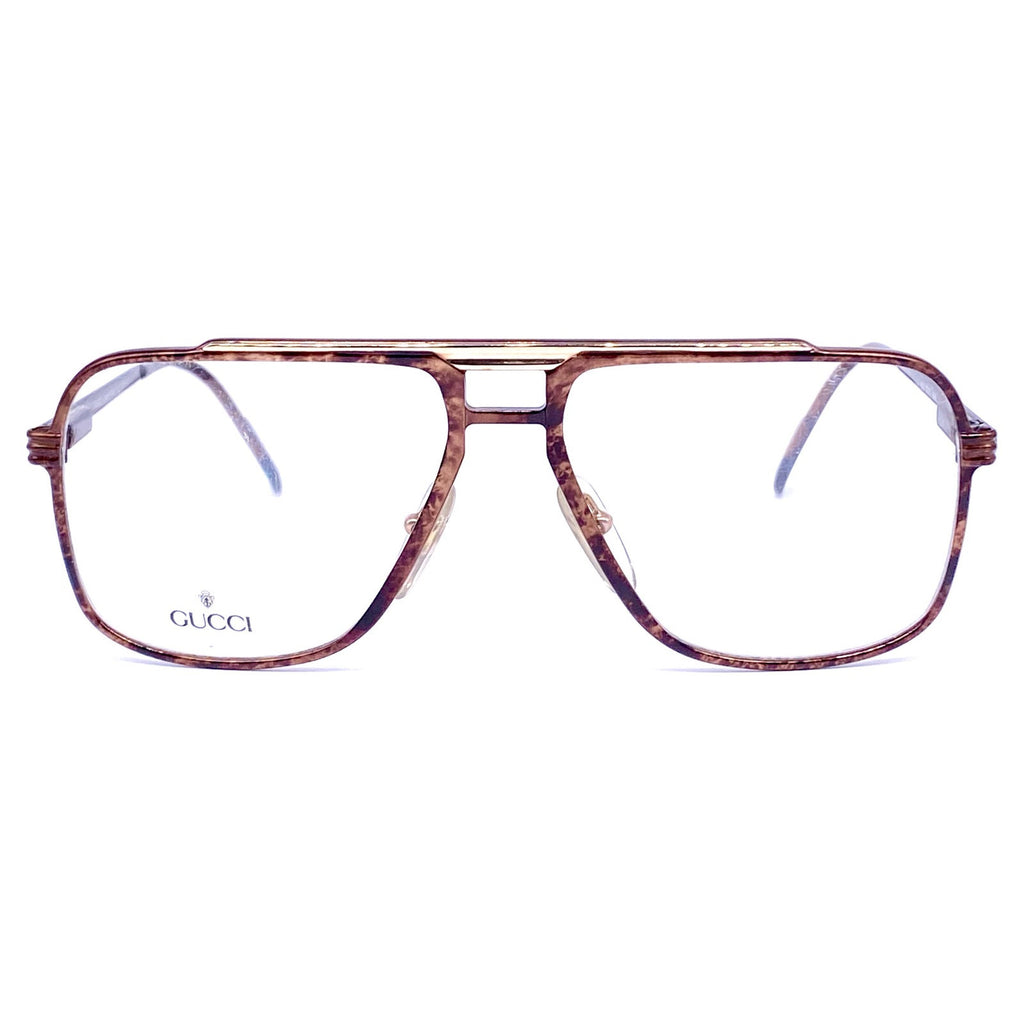 Gucci brown/ gold metal aviator eyeglasses frames made in Italy, 1980s NOS - viceversashop