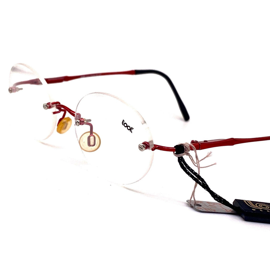 T look oval rimless red metal eyeglasses frames made in italy, 1980s nos - viceversashop
