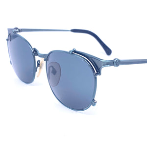 Jean Paul Gaultier 56 2175 square metallized blue steampunk sunglasses made in Japan, 1990s NOS - viceversashop