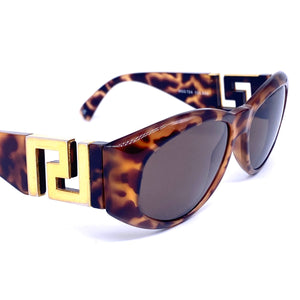 Gianni Versace T24 iconic tortoise gold Greek temples sunglasses made in Italy, 1990s NOS - viceversashop