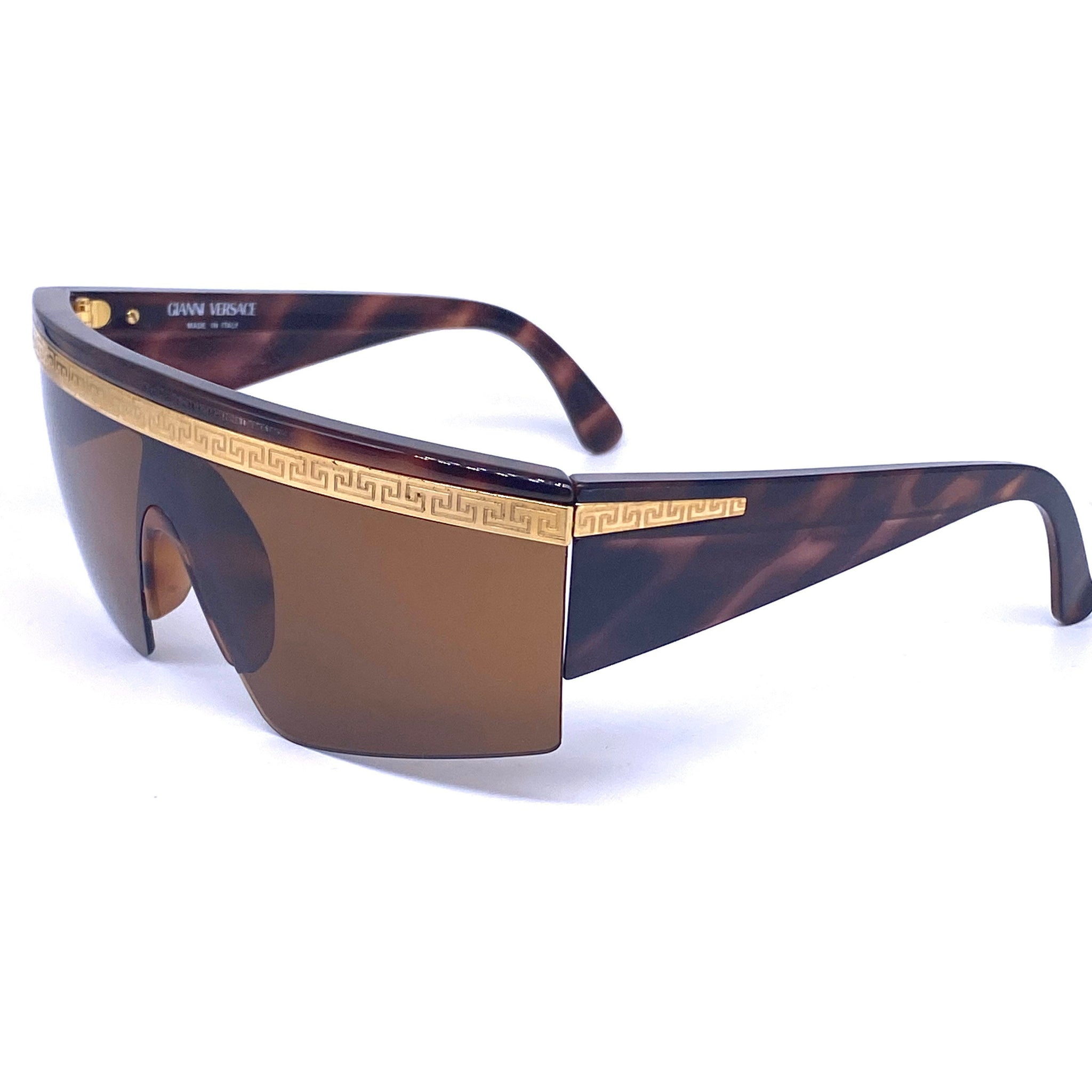 Gianni Versace T76 tortoise wrap sunglasses with golden greek browline, NOs 90s - viceversashop