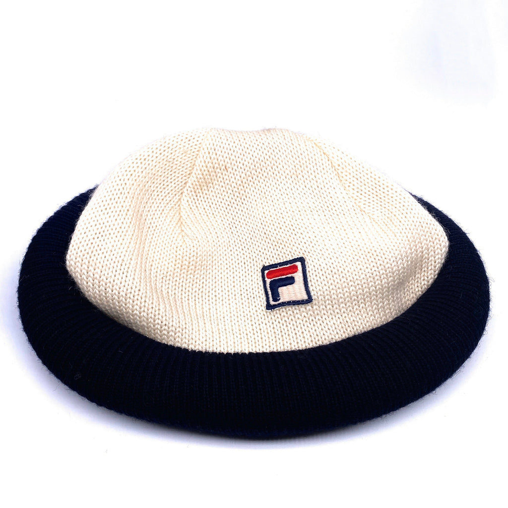 Fila vintage NOS beanie hat, white/blue fisherman style in pure new wool, made in Italy - viceversashop