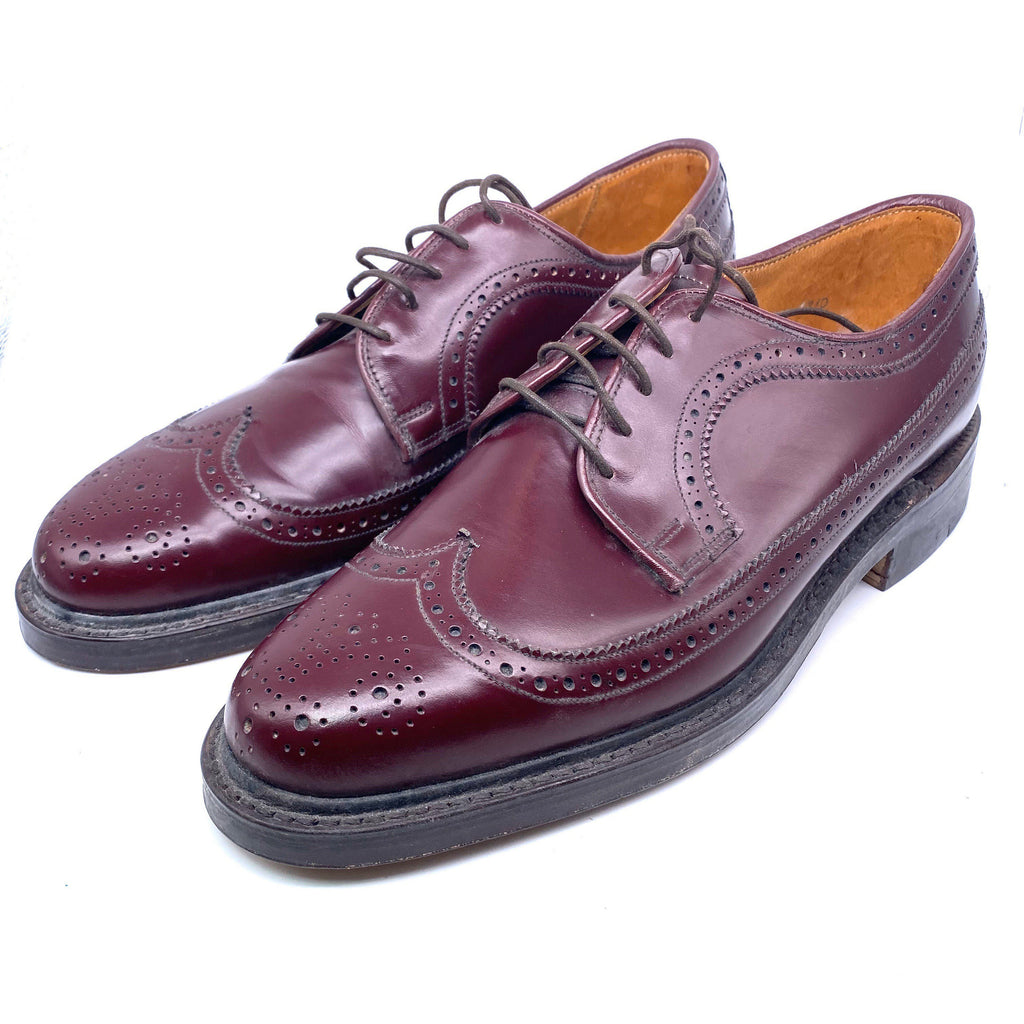 Grenson Royal Windsor NOS burgundy brogues church style UK handmade leather shoes size 7 - viceversashop