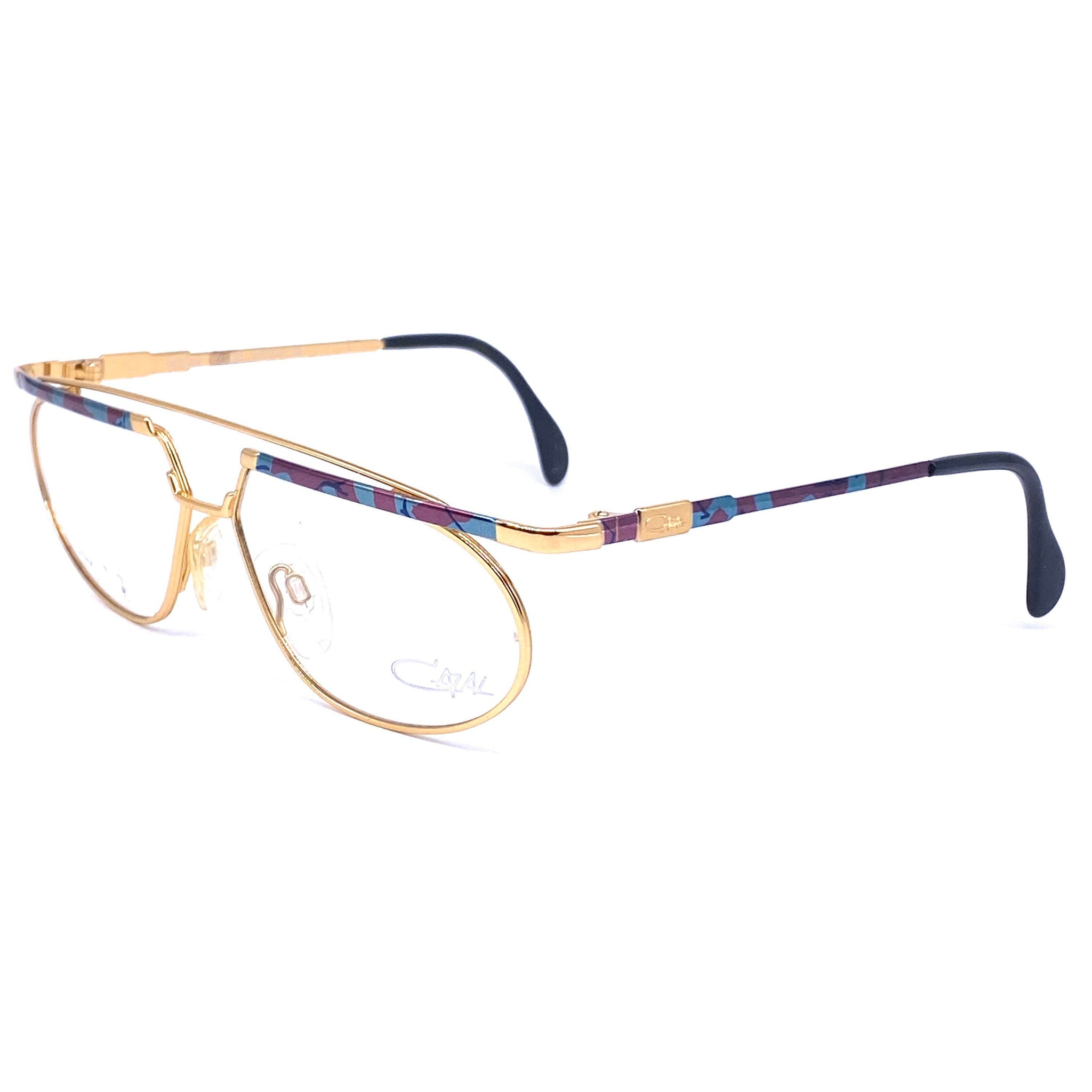 Cazal oval gold / multicolor enameled  avant Garde eyeglasses frames made in W. Germany - viceversashop