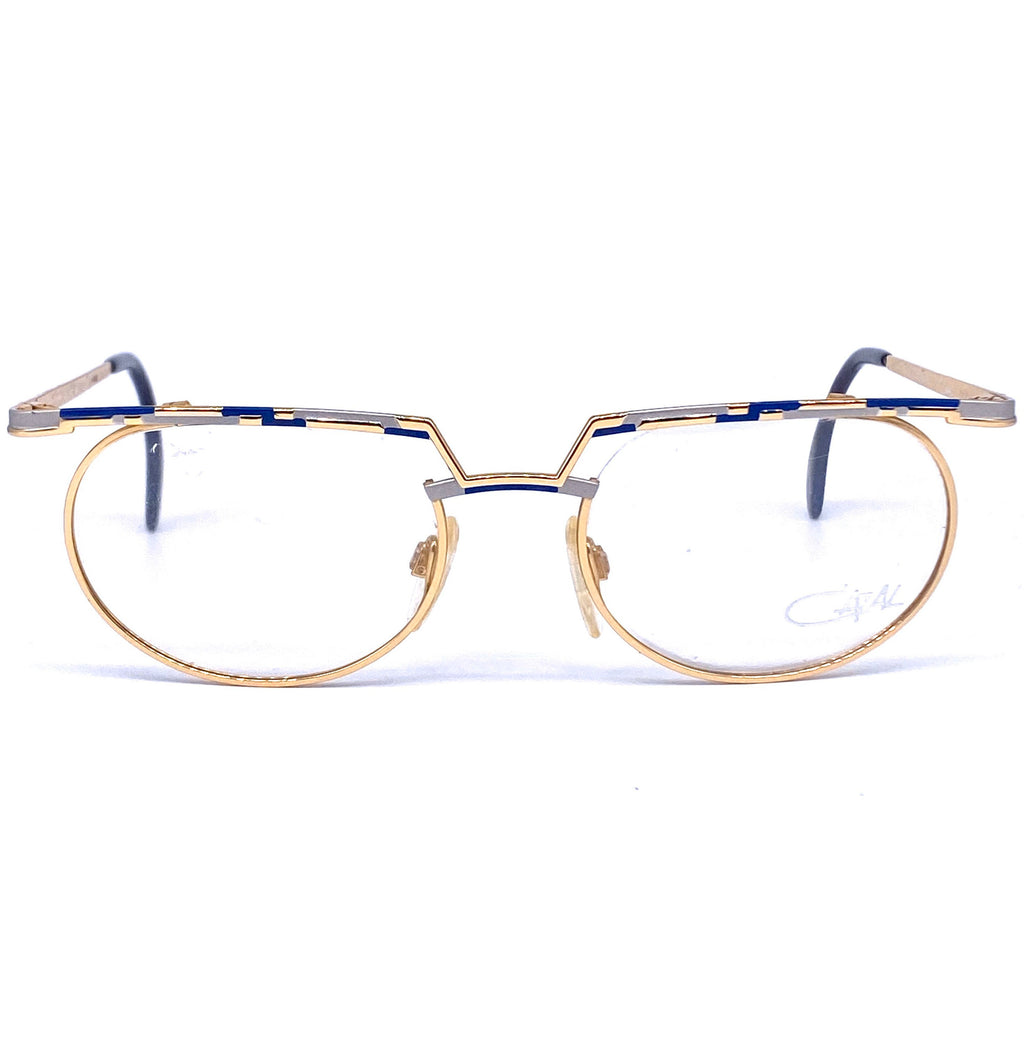 Cazal 265 hip round gold eyeglasses frames with flat brows, W. Germany NOS 1980s - viceversashop