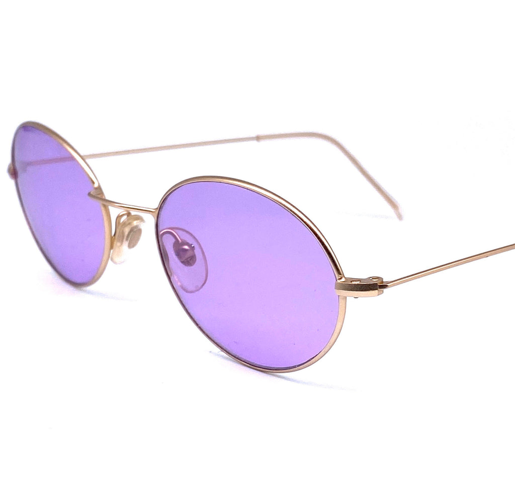 Planet 2000 oval purple lenses sunglasses, matte thin matte gold frames, NOS 90s Italy - viceversashop