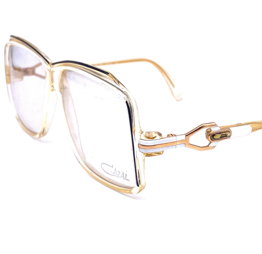 Cazal 164 square oversized clear white black eyeglasses W. Germany, 1980s NOS - viceversashop