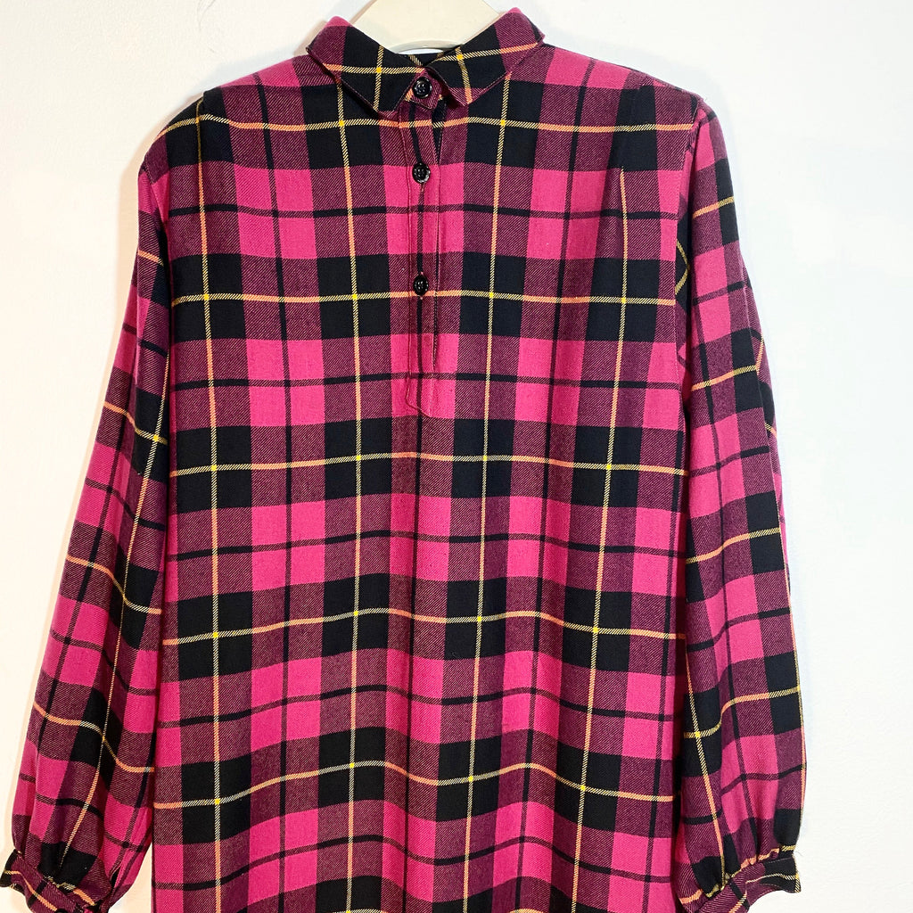 Elle purple tartan wool shirt dress sz 42, mint condition, 1970s/80s
