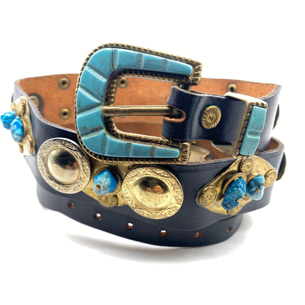 Precious artisanal leather / brass / turquoise stones ladies belt made in Italy, 80s NOS - viceversashop