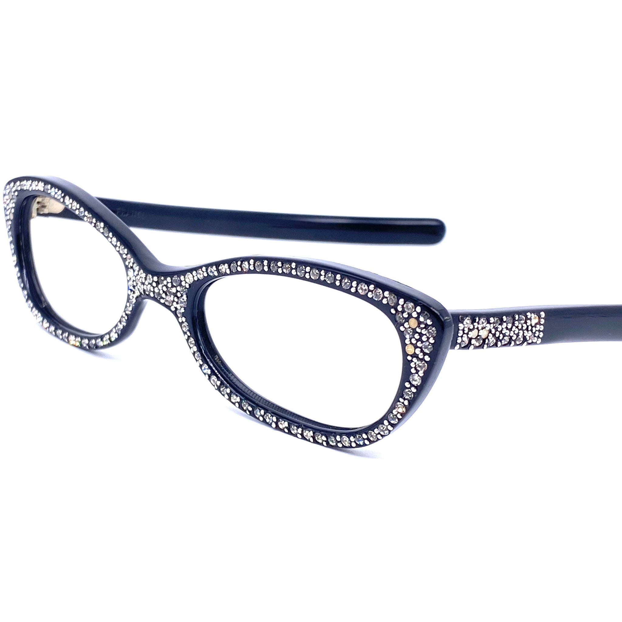 Stunning cateye eyeglasses with rhinestones sober, frames made in France, 1950s NOS - viceversashop