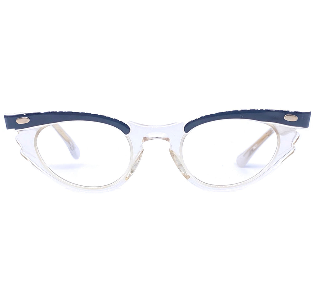 Bausch+Lomb kids cateye clear/blue eyeglasses frames, 1950s NOs - viceversashop