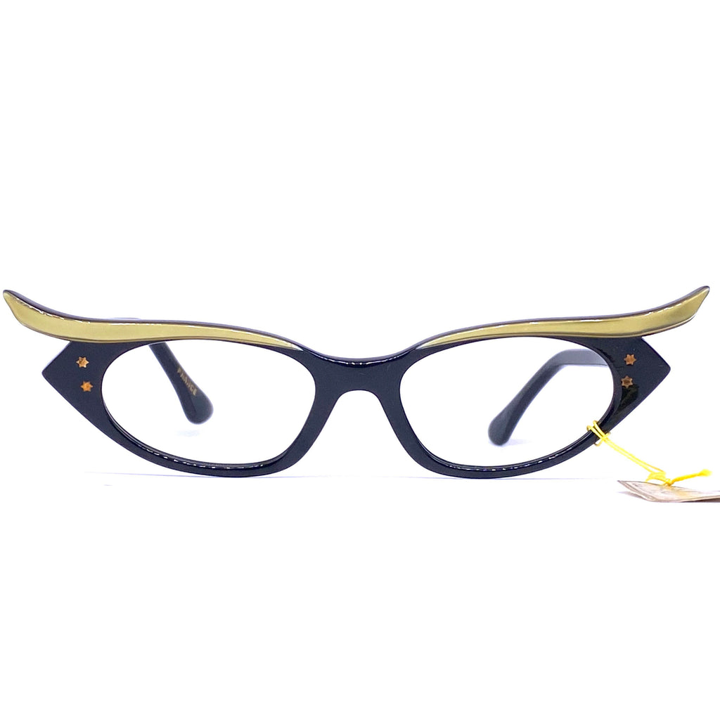 Stunning butterfly cateye eyeglasses frames, bicolor black/gold, 1950s NOS - viceversashop
