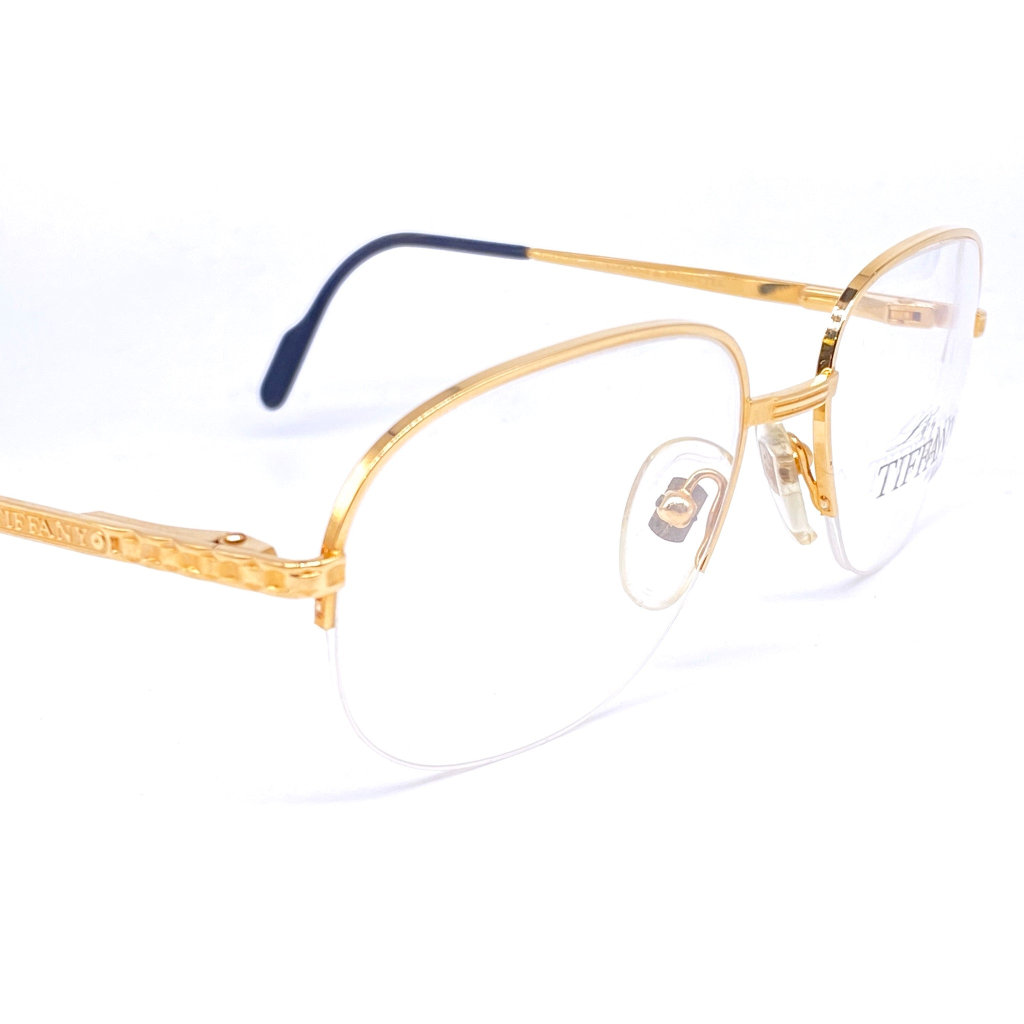Tiffany T371 square half rimmed gold plated frames made in Italy, 1980s NOS - viceversashop