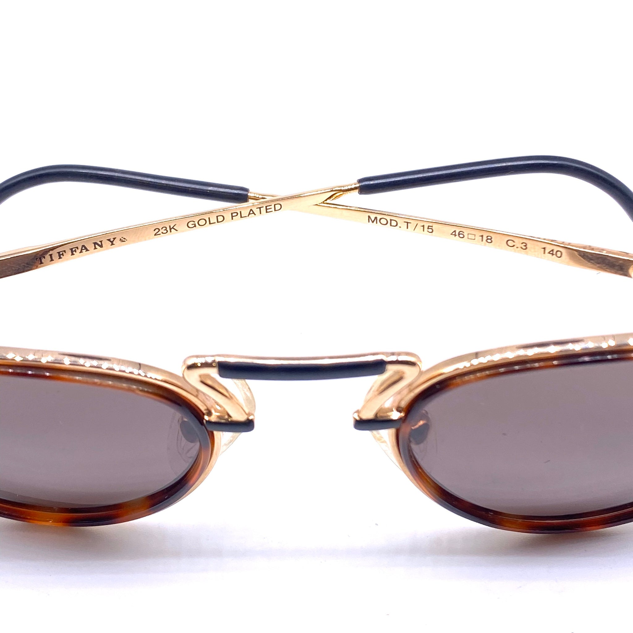 Tiffany T15 round hip sunglasses, 23k gold filled with tortoise rims, Italy 1980s NOS - viceversashop