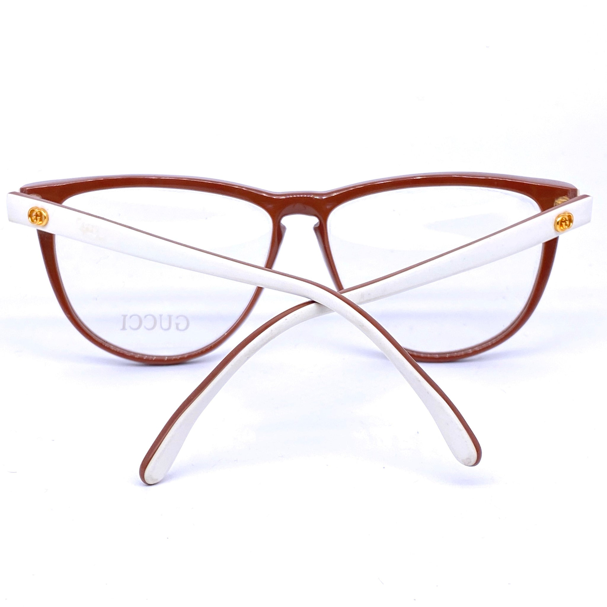 Gucci GG25 bown/white cateye oversized ladies eyeglasses frames, 1980s NoS - viceversashop