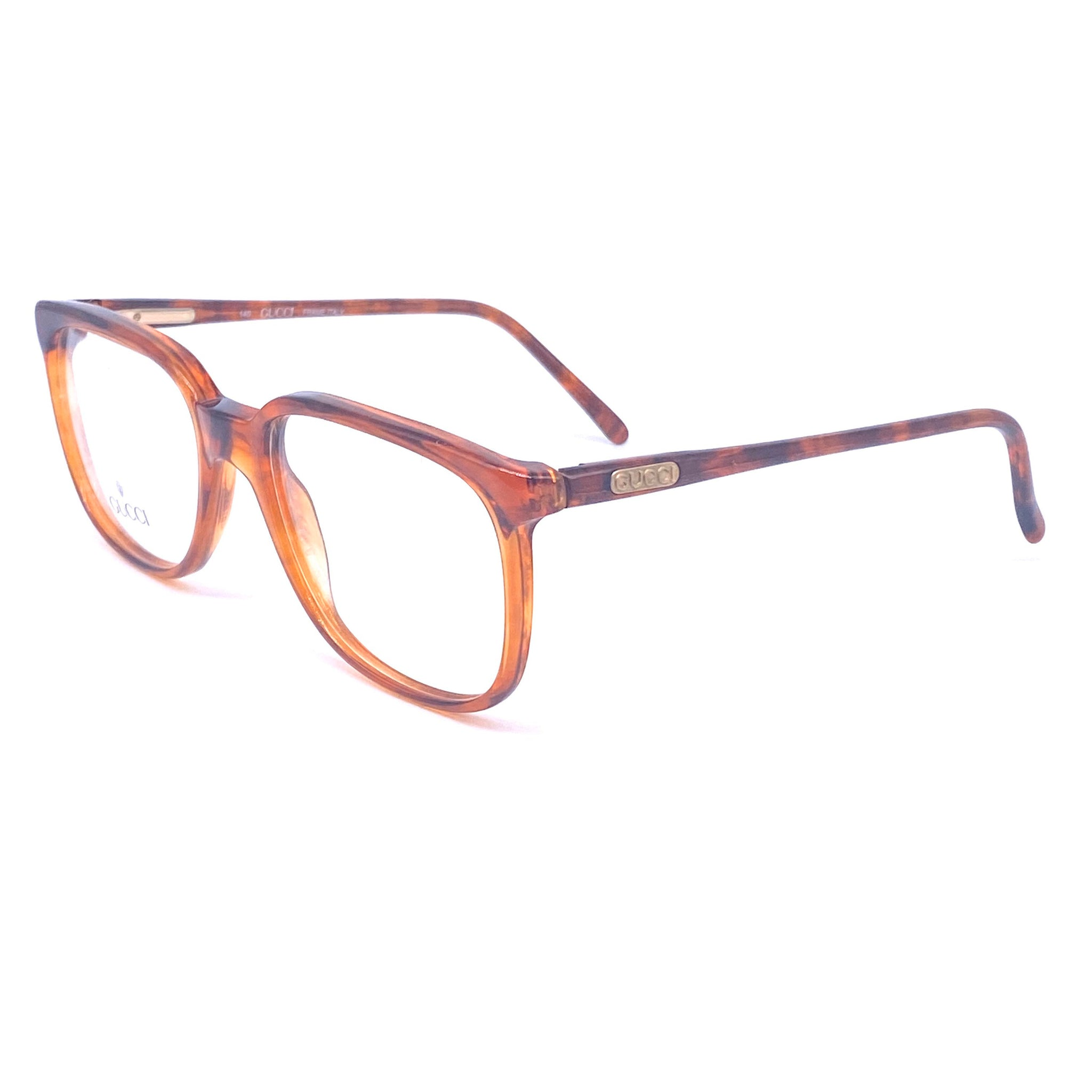 Gucci 1132 vintage tortoise cello eyeglasses frames hand made in Italy, 1980z NOS - viceversashop
