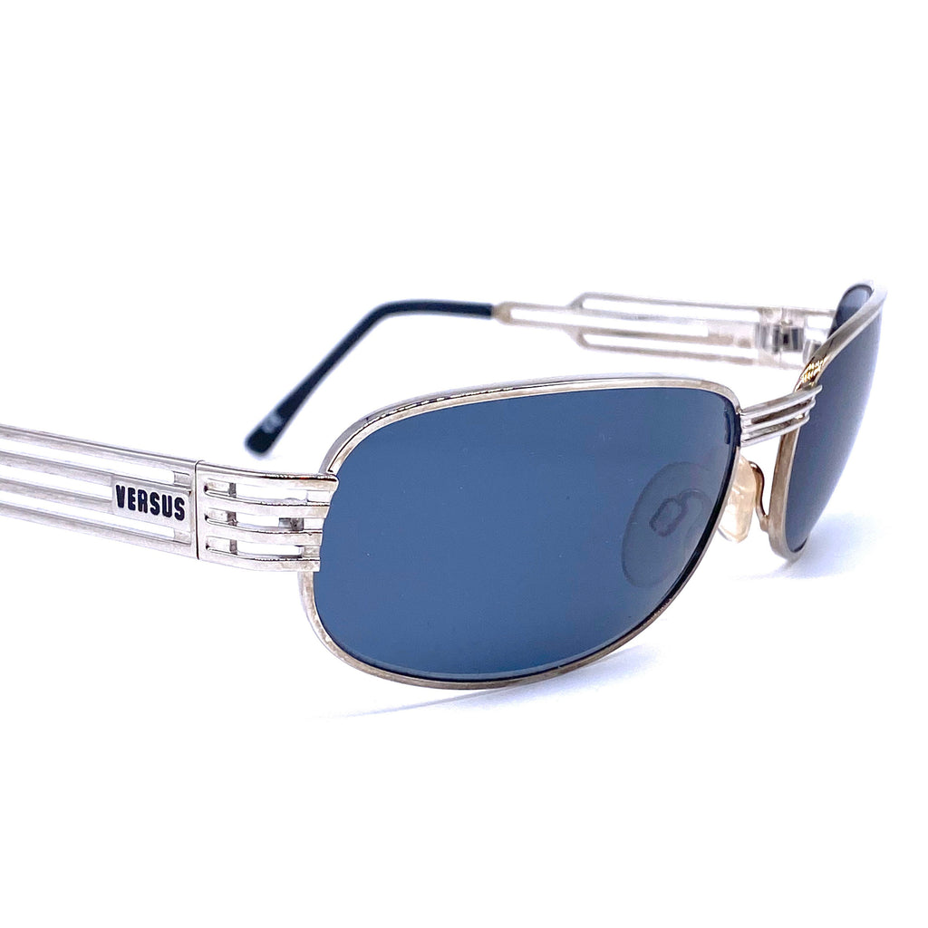 Versus Versace f36 silver oval wrap sunglasses made in Italy, 1990s NOS - viceversashop