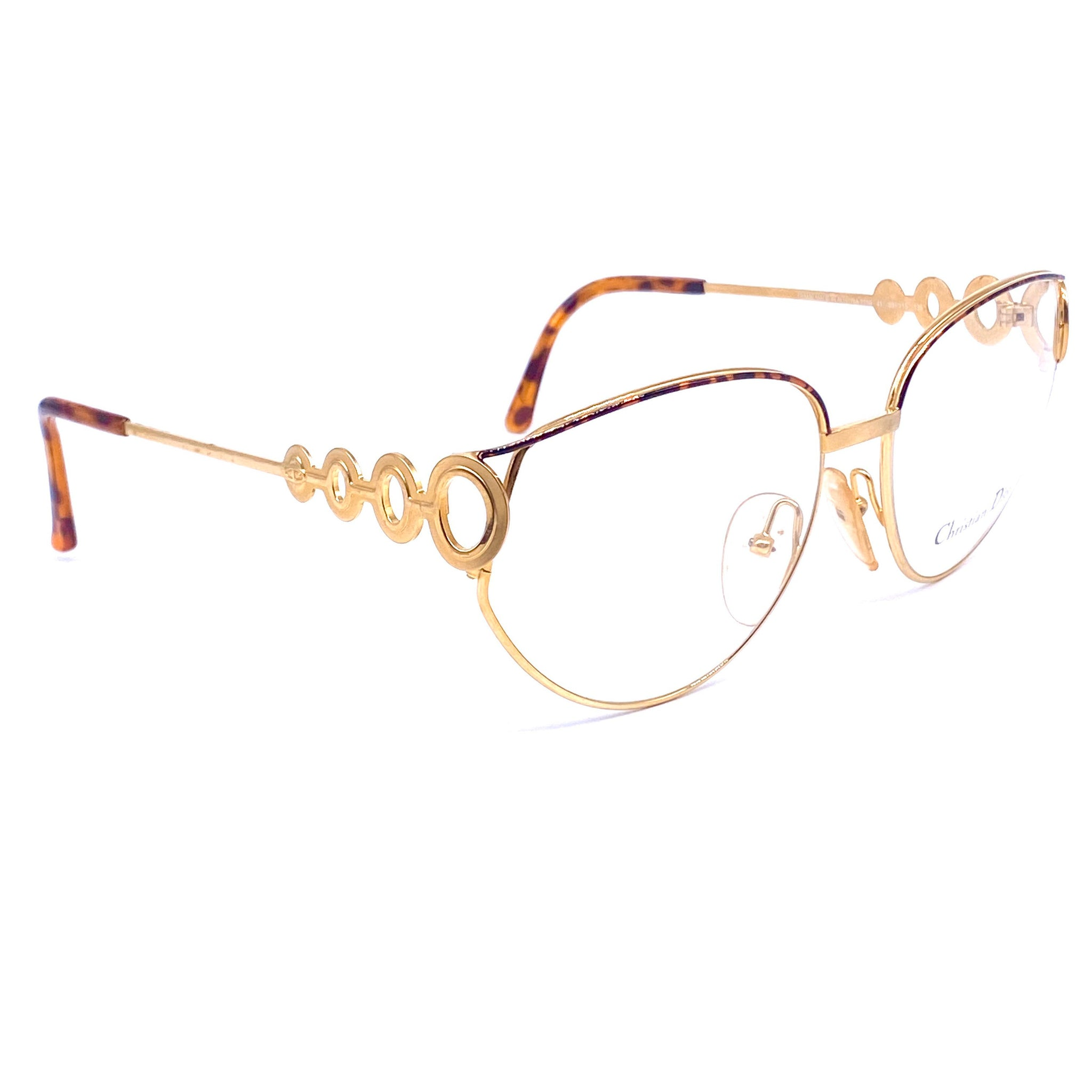 Christian Dior 2750 golden cateye oversized eyeglasses, space age cutoff oblò details, 1980s NOS - viceversashop