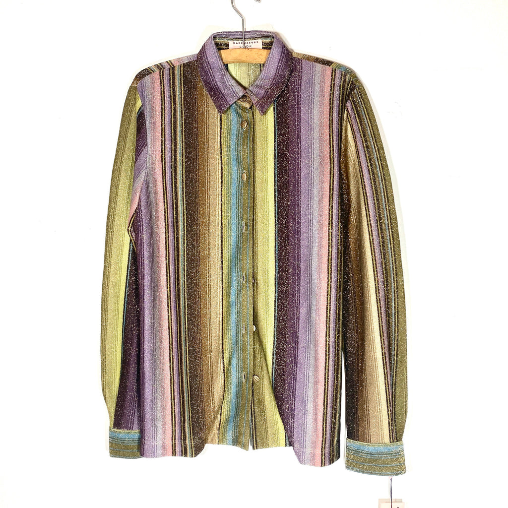 Marc Jacobs NOS metal blend fabric multicolor purple/green/brown/gold striped evening blouse, mint