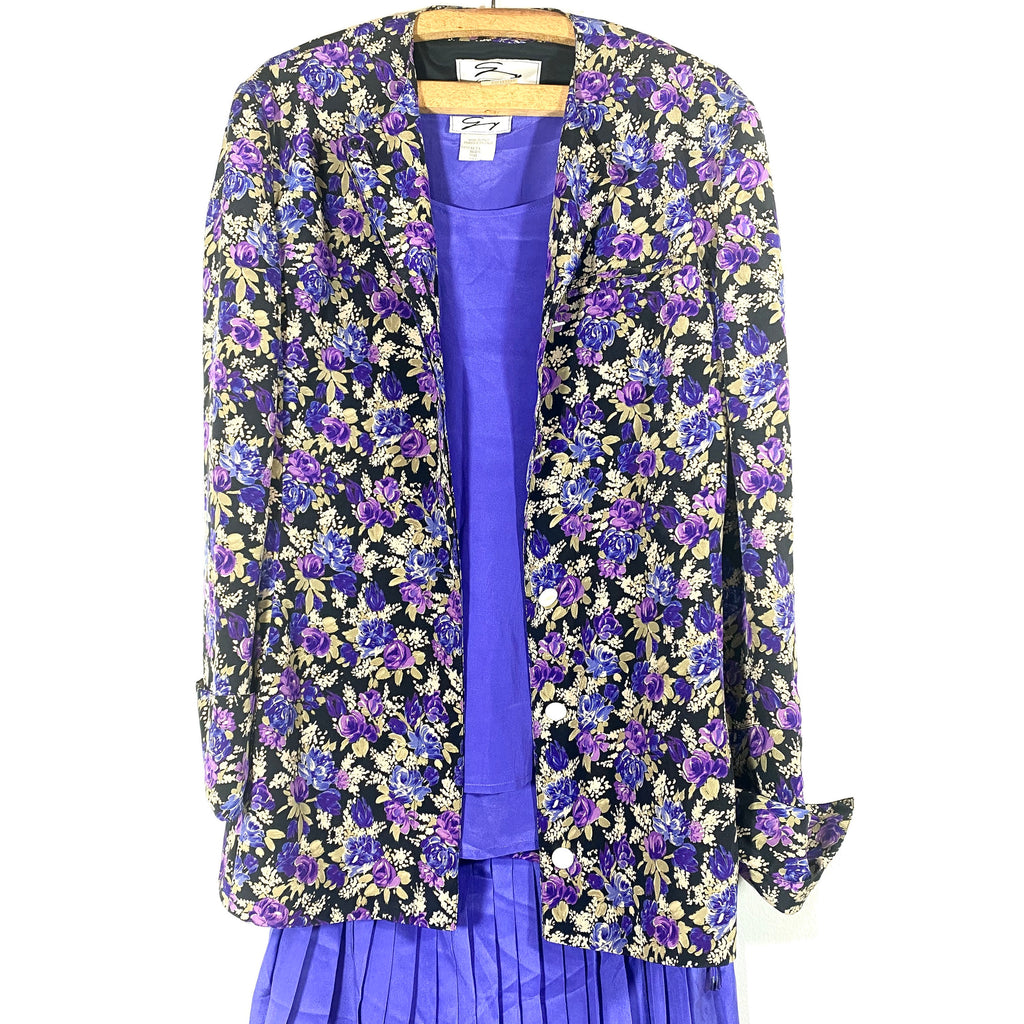 Genny pure silk ladies lilac floral suit, 3 pcs tank top, pleated skirt & blazer, minty