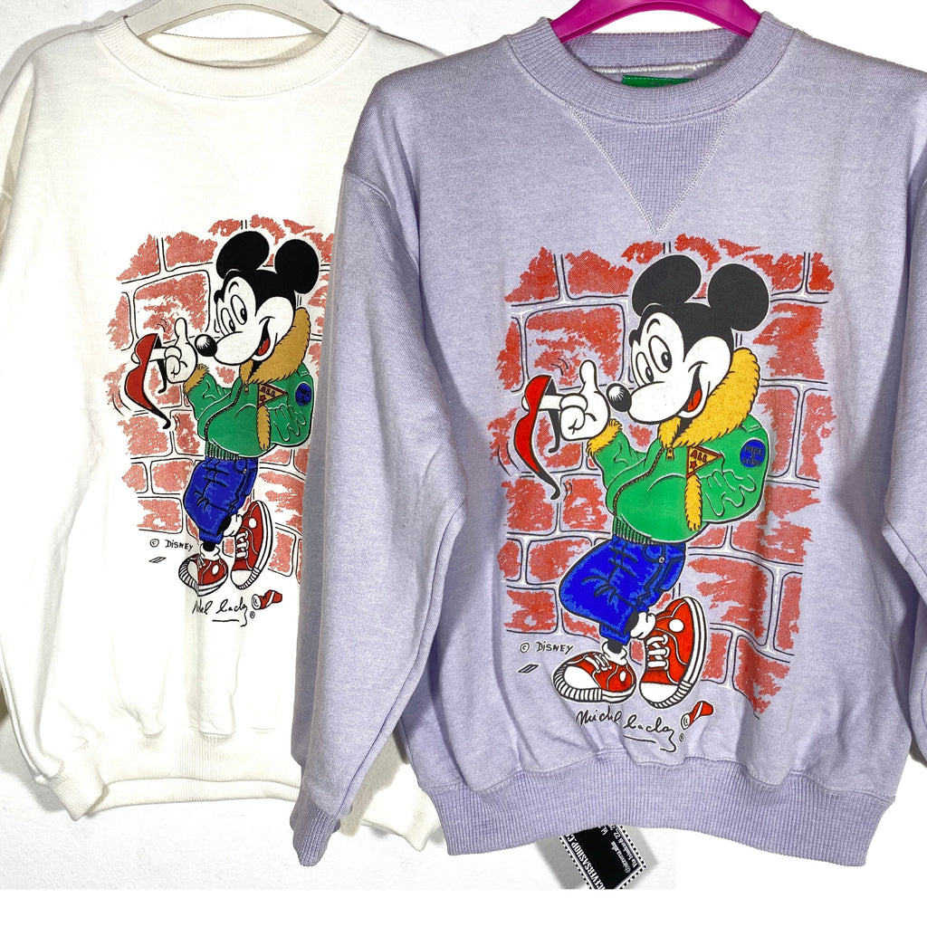 Disney Mickey Mouse sweatshirt by Michel Bachoz, new old stock 80s 2 colors & sizes.
