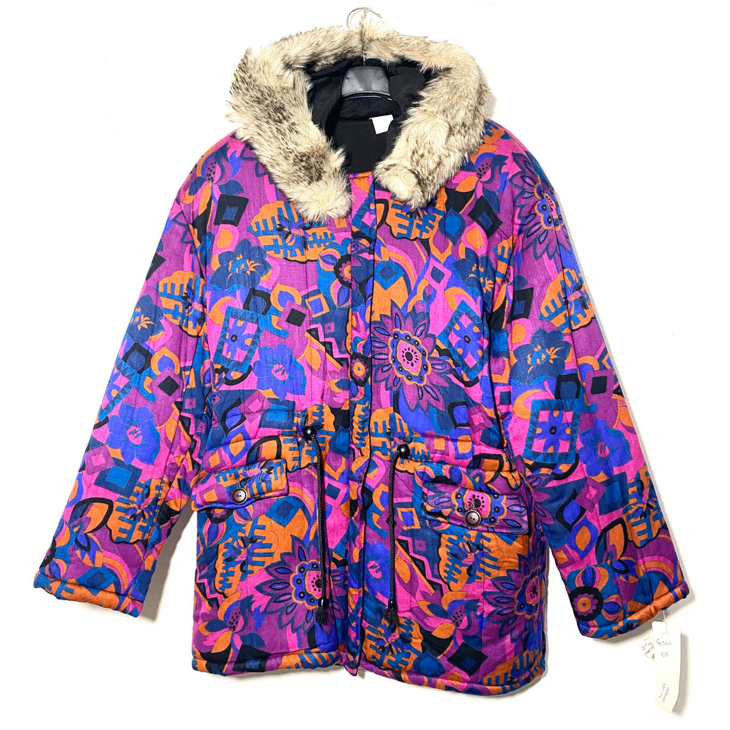 Purple tones Vegan parka with a beautiful abstract print allover, 1980s sartorial made in Italy sz 44 M
