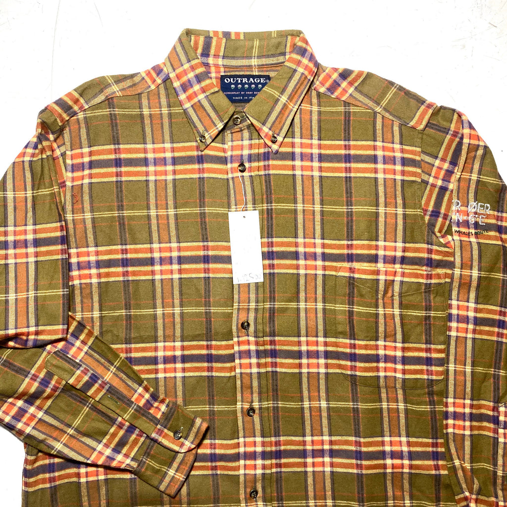 Outrage 90s NWT checkered flannel shirt, military green/ purple and peach, mint and with tags