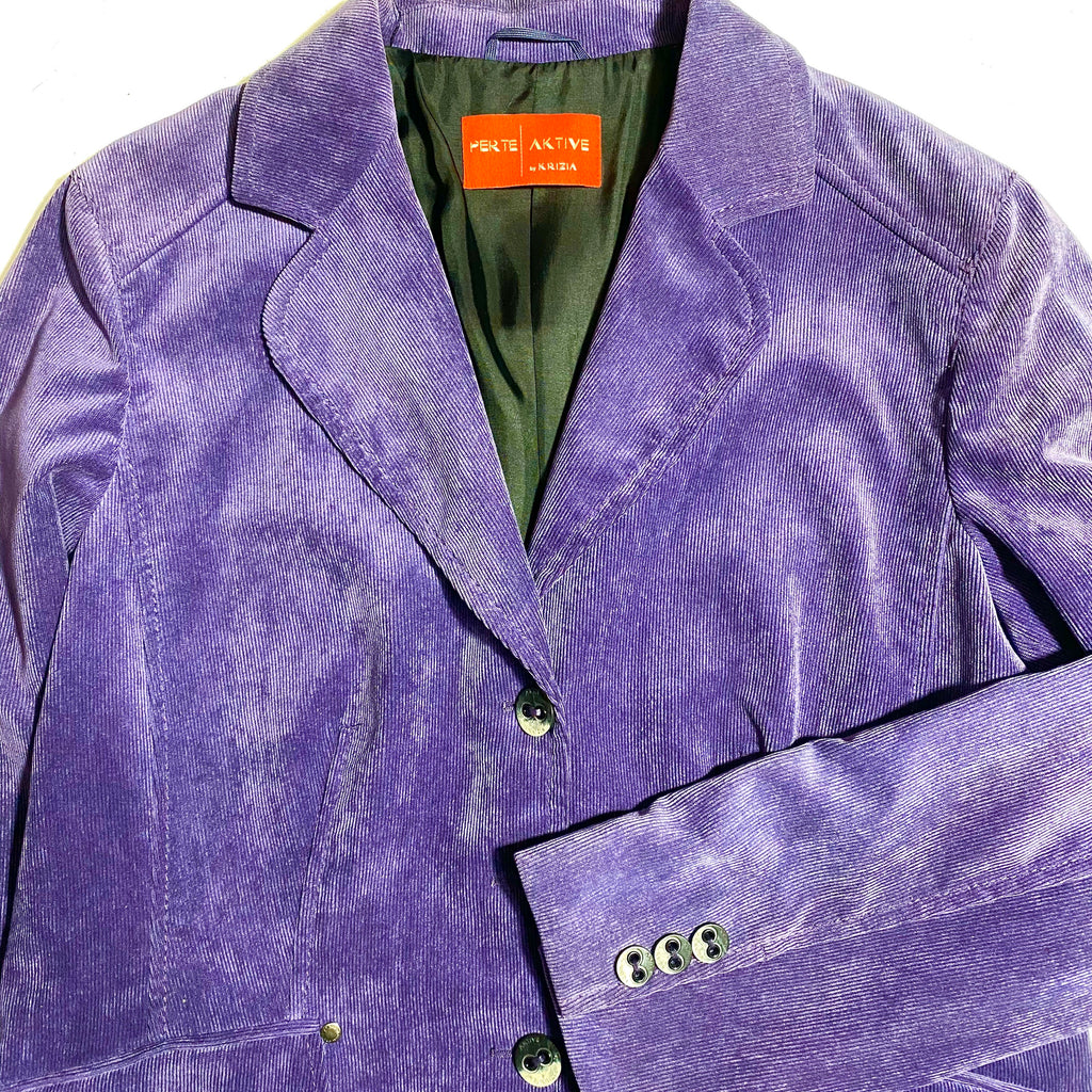 Krizia Aktive purple corduroy ladies velvet  blazer sz 44, new old stock