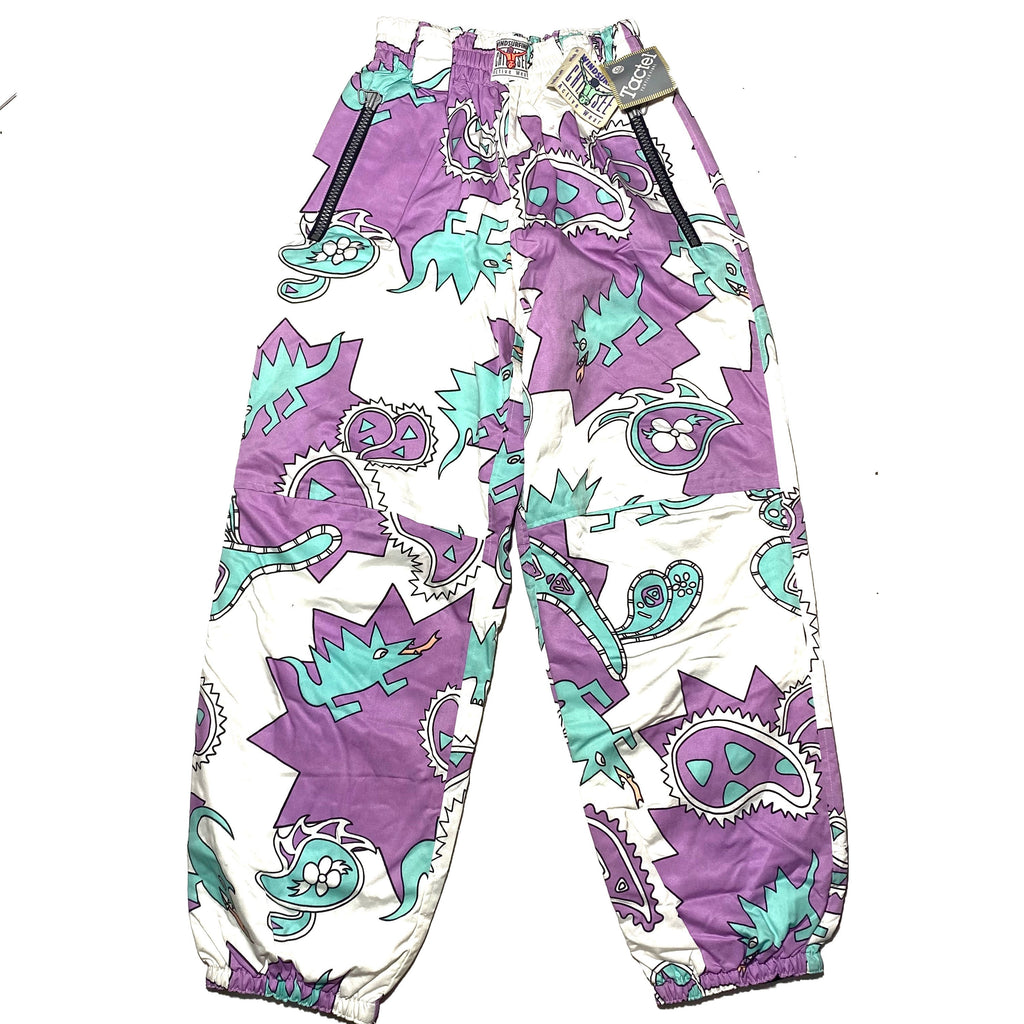 Jet Set purple / turquoise / white dragons / paisley crazy print windsurf padded tactel trousers, NOS 90s