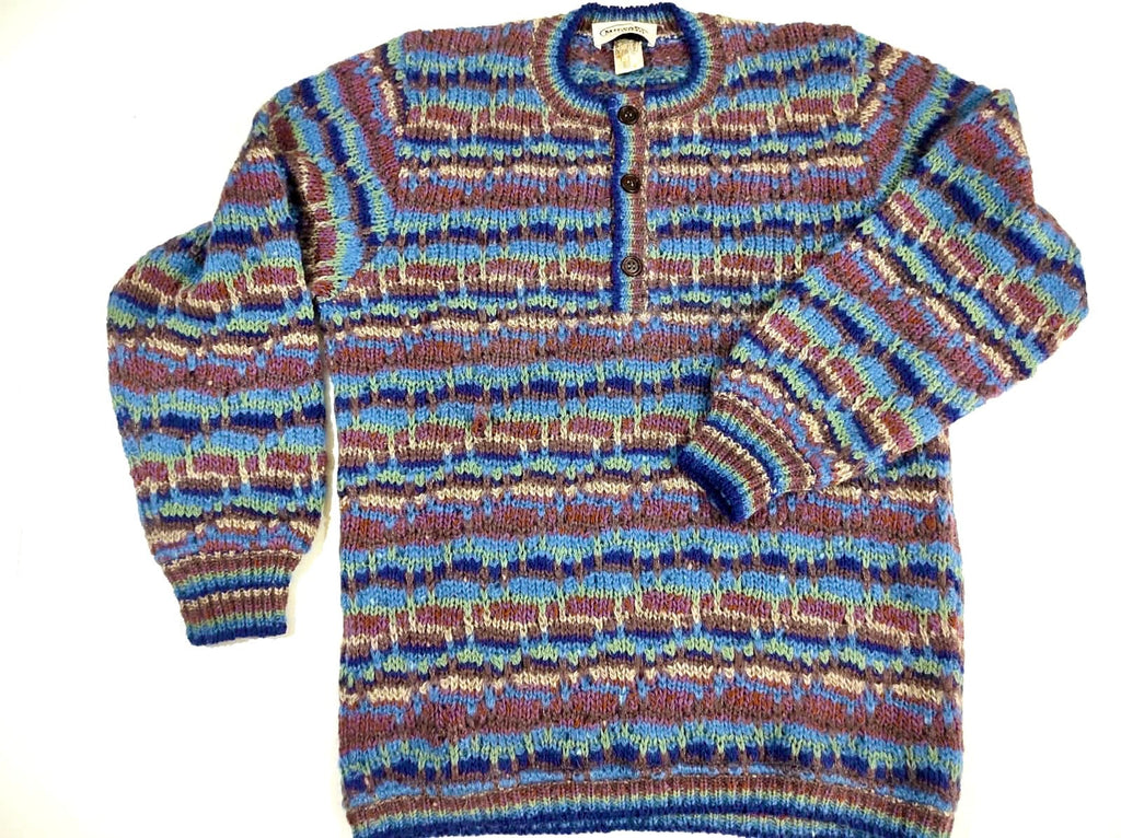 Missoni wool / silk striped pullover colorful blue / purple / brown asymmetrical allover, NOS 80s