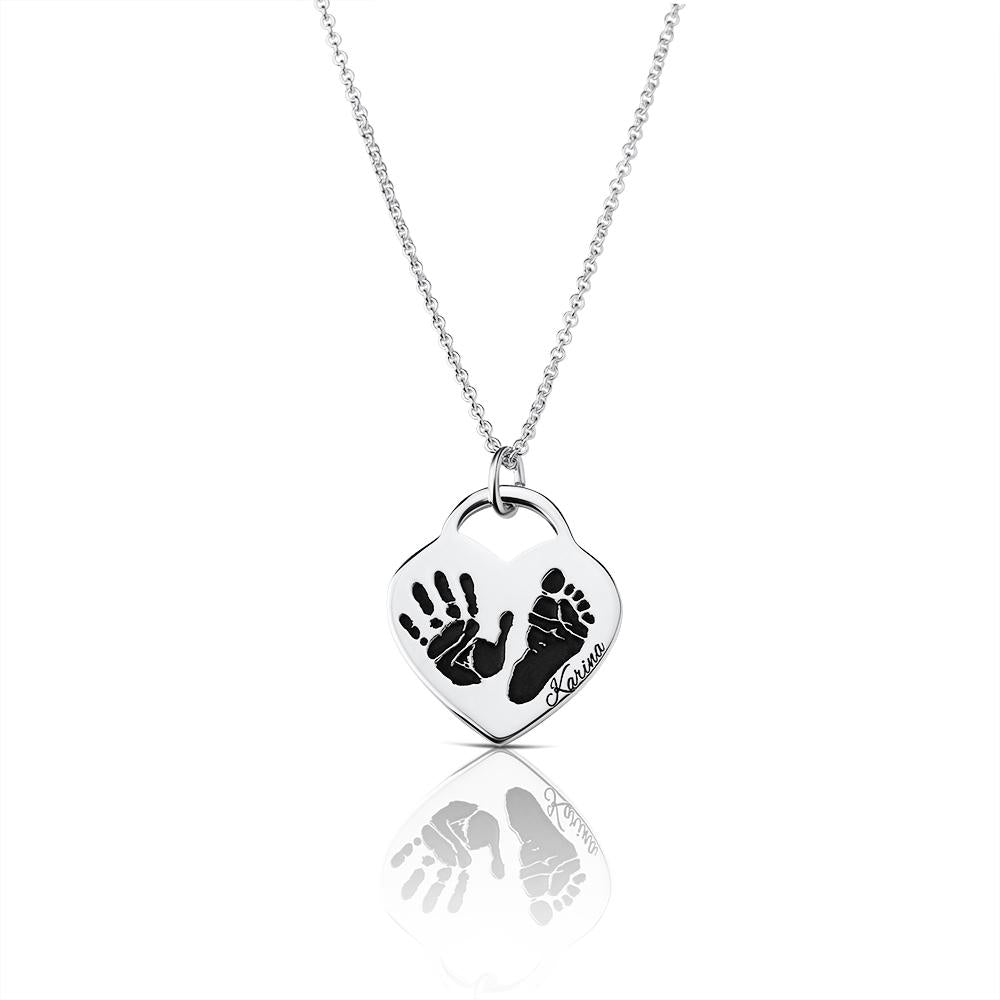 Footprint Handprint necklace chain with engraving Birth Heart Statement Print original personalized mother jewelry by Sevoly silver