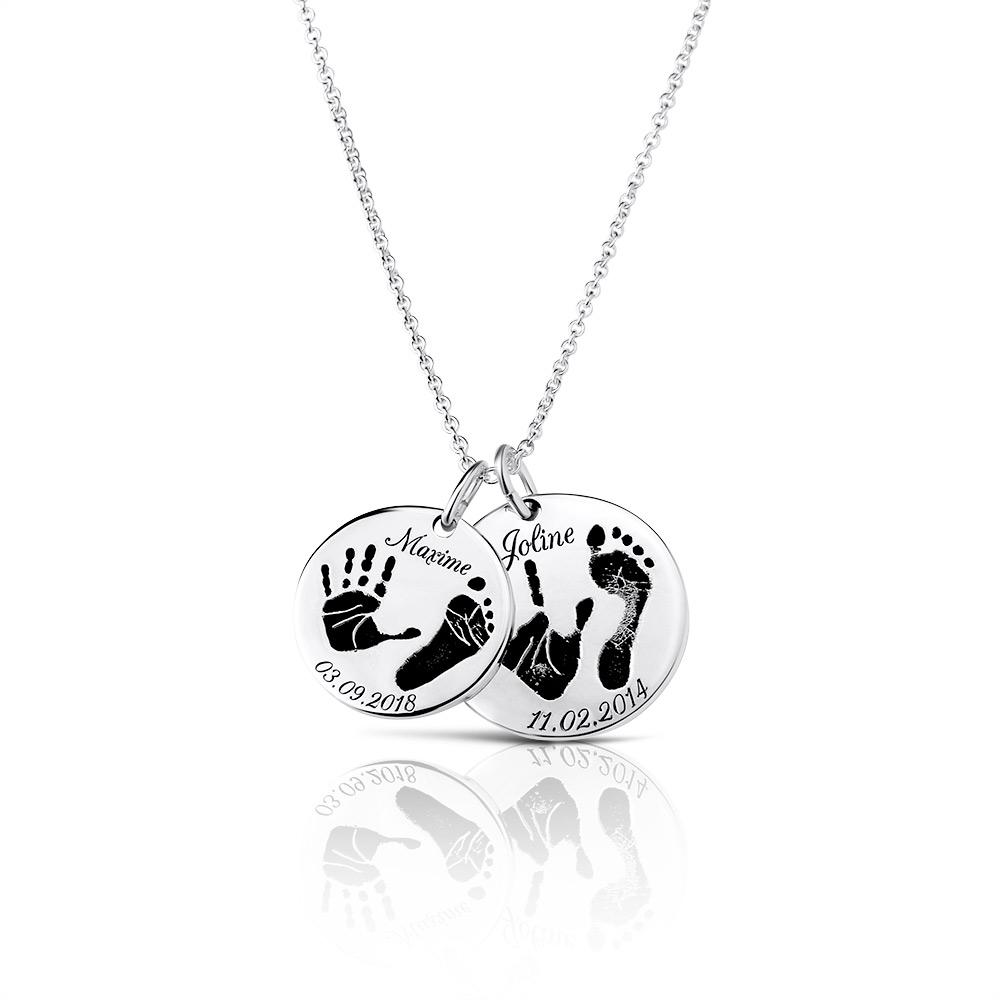 Footprint Handprint necklace chain with engraving Birth Loving Mom 2 Charms original personalized mother jewelry by Sevoly silver