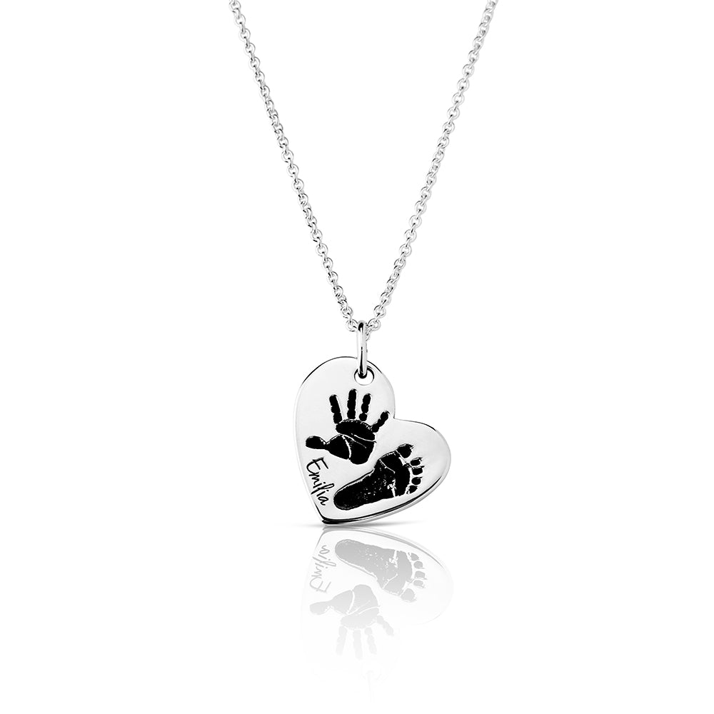 Footprint Handprint necklace chain with engraving Birth Proud Mom Statement Print original personalized mother jewelry by Sevoly silver