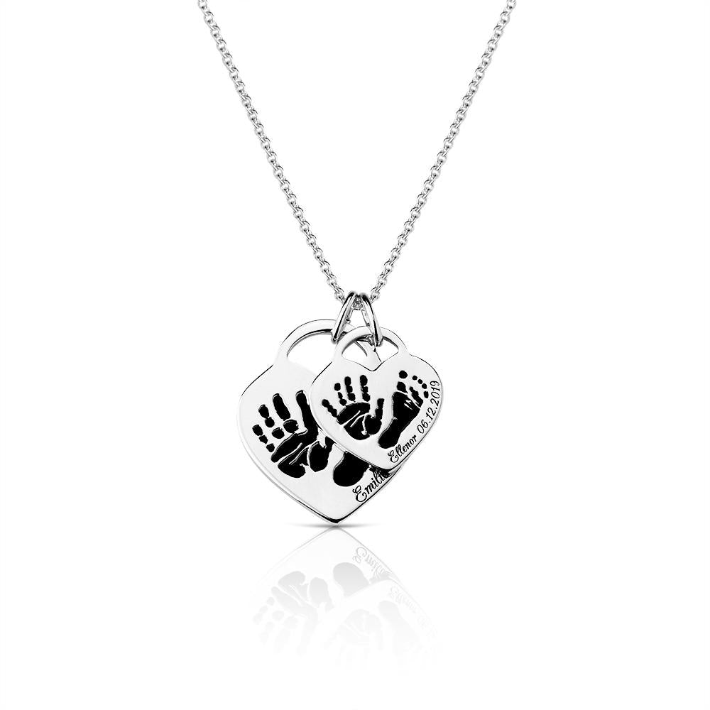 Footprint Handprint necklace chain with engraving Birth Symbol of live Print original personalized mother jewelry by Sevoly silver