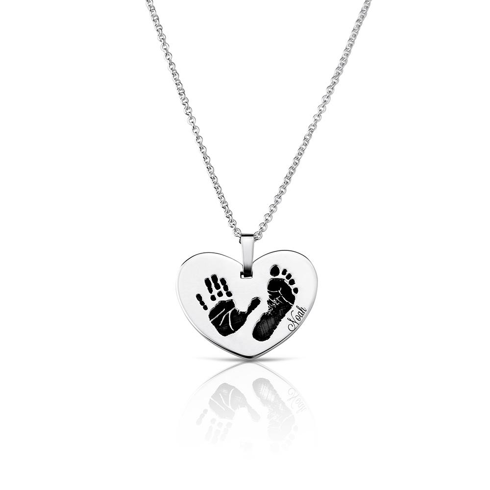 Footprint Handprint necklace chain with engraving Birth United at heart Print original personalized mother jewelry by Sevoly silver