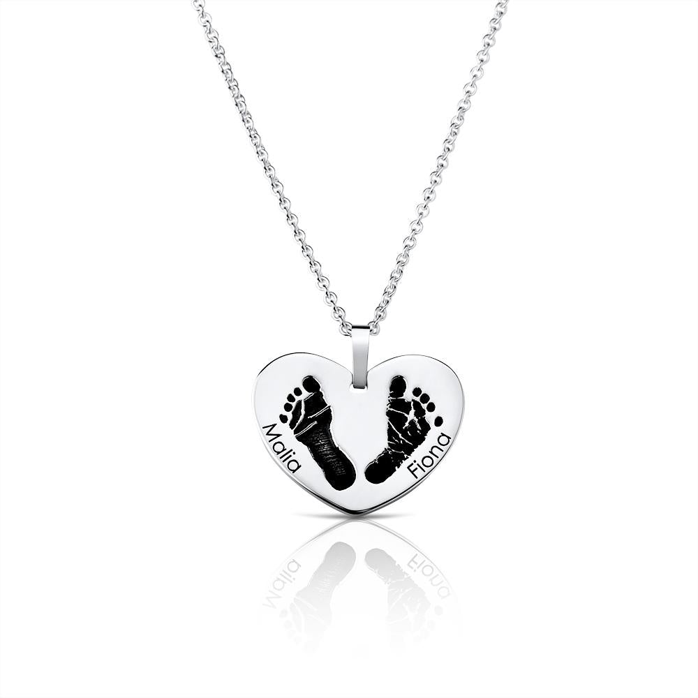 Footprint Handprint necklace chain with engraving Birth United at heart Print Sibling original personalized mother jewelry by Sevoly silver