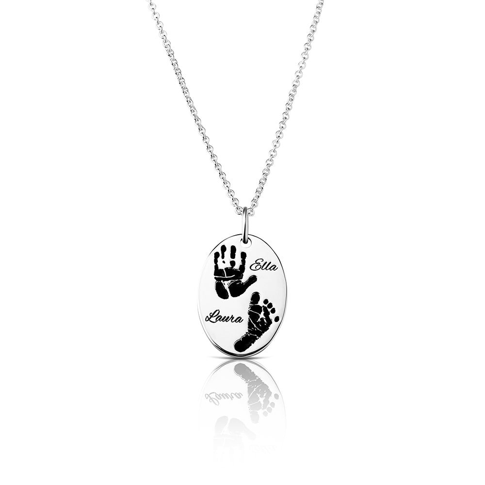 Footprint Handprint necklace chain with engraving OVAL Siblings 2 Prints original personalized mother jewelry by Sevoly silver