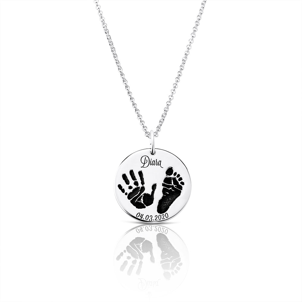 Footprint Handprint necklace chain with engraving First Steps original personalized mother jewelry by Sevoly silver
