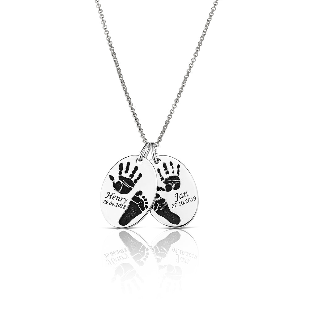 Footprint Handprint necklace chain with engraving Cherish the Moment original personalized mother jewelry by Sevoly silver