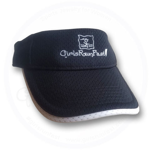 GirlsRunFast.com - Jewelry for runners - Women's Black/White Running Visors